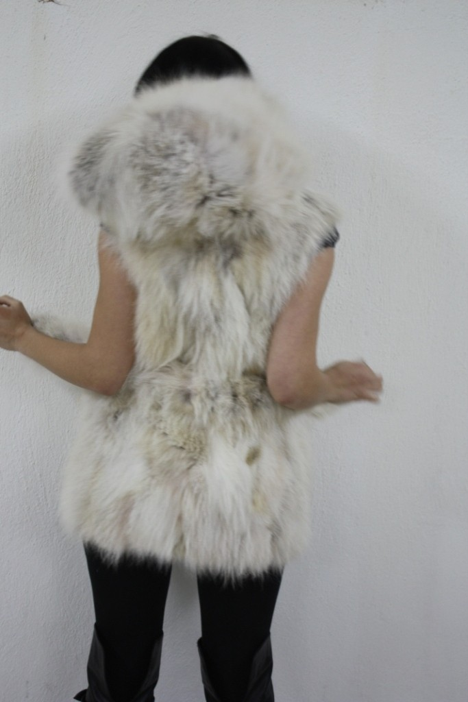 cream fox fur vest with hood rear view
