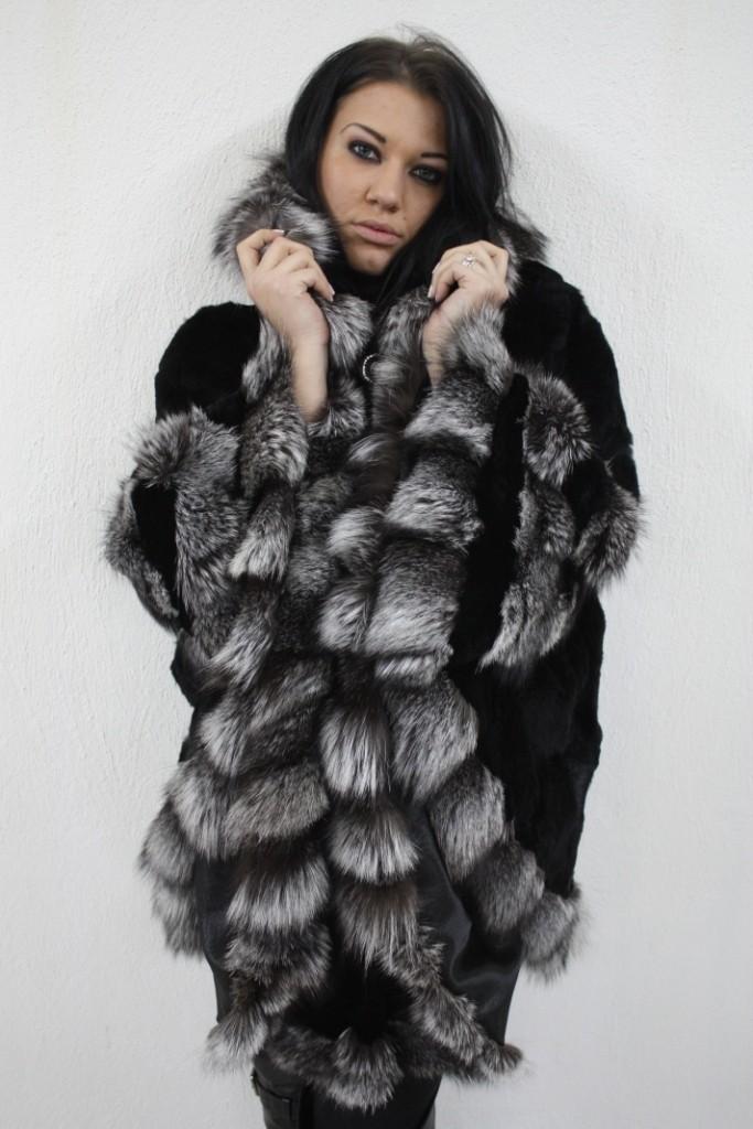 black rex fur cape with silver fox trim in our fur store