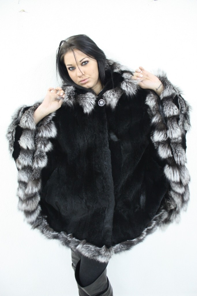 buy black rex fur cape with silver fox trim in our fur store