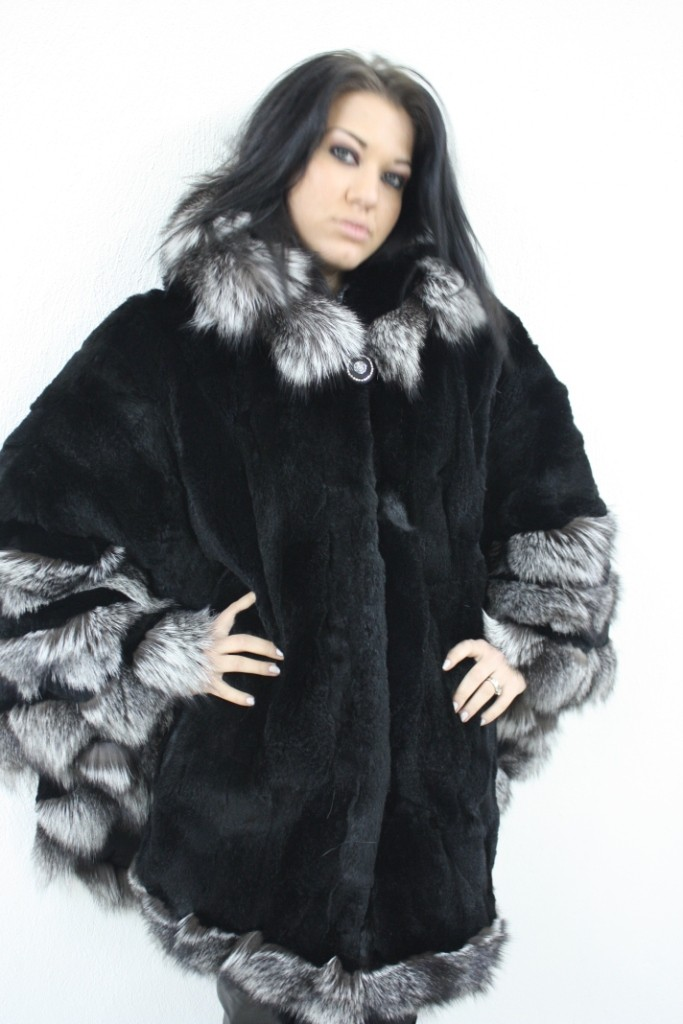 buy rex fur cape with silver fox trim in our fur store