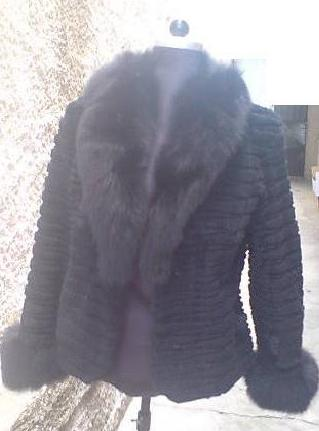 black sheared beaver fur jacket fox collar and fox cuffs
