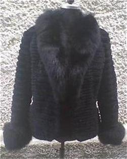 black beaver fur jacket fox collar and fox cuffs