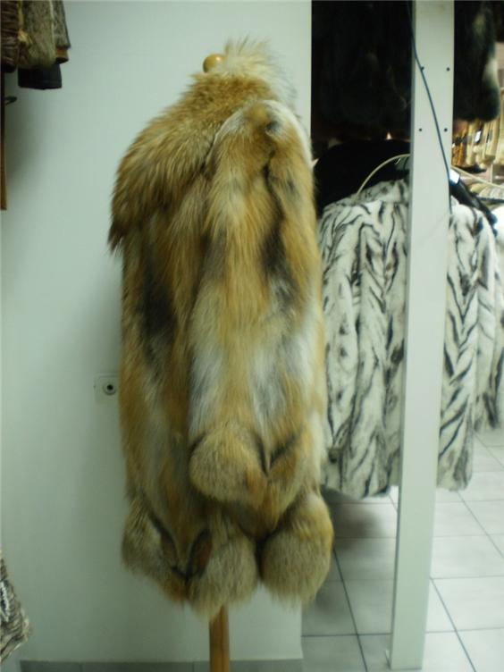 red fox fur coat in our fur store side view