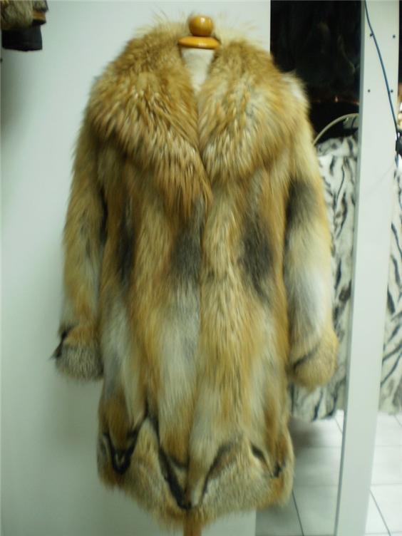 red fox fur coat in our fur store