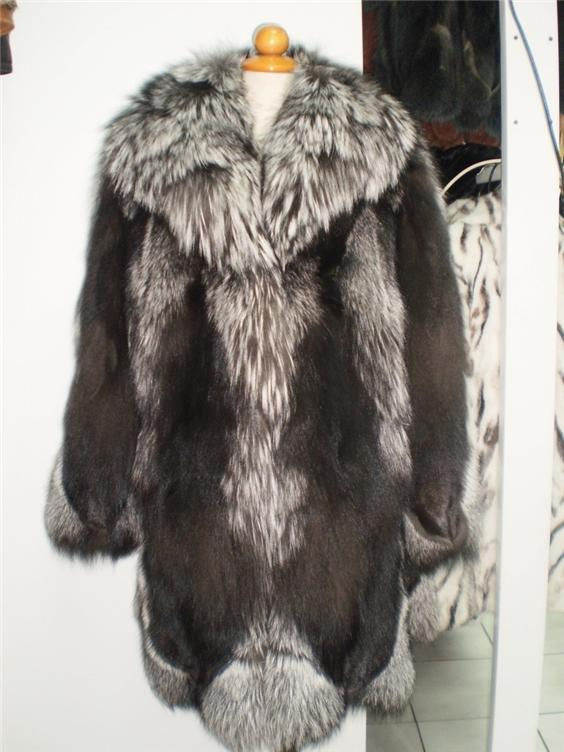 buy silver fox fur coat in fur store