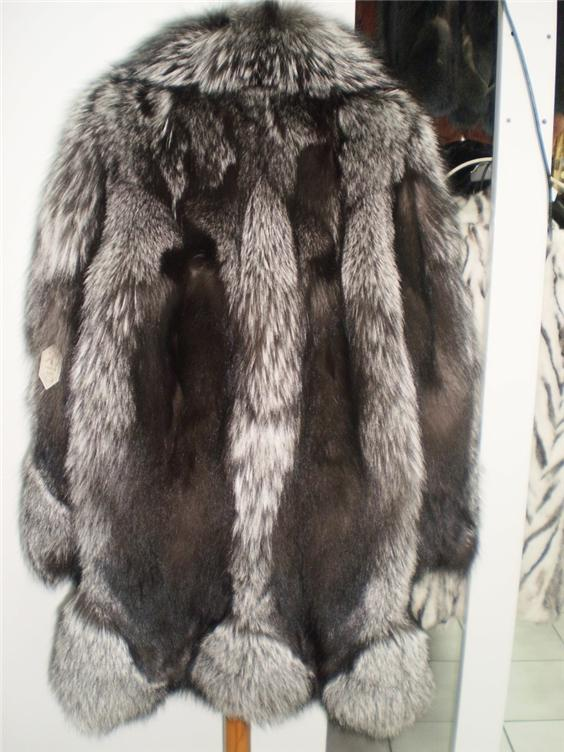 silver fox fur coat in fur store