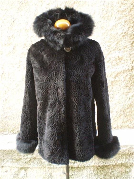 Beaver Fur Coat Sheared Black Hood xs to xxxl