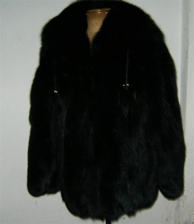 black fox fur coat hooded rear view