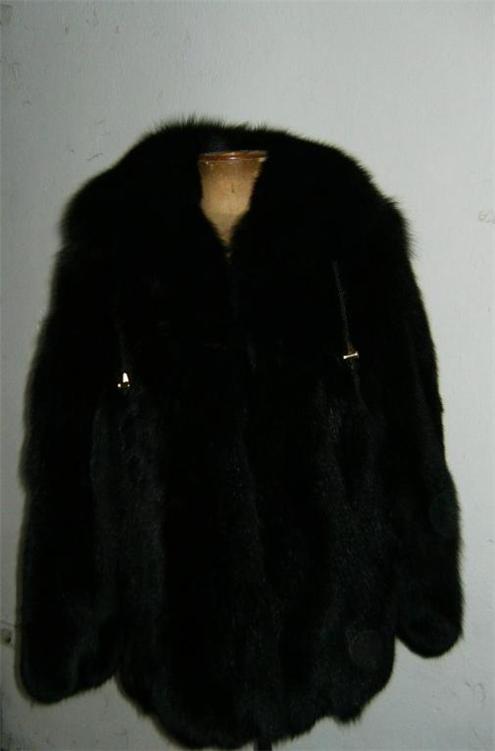 black fox fur coat hooded close view