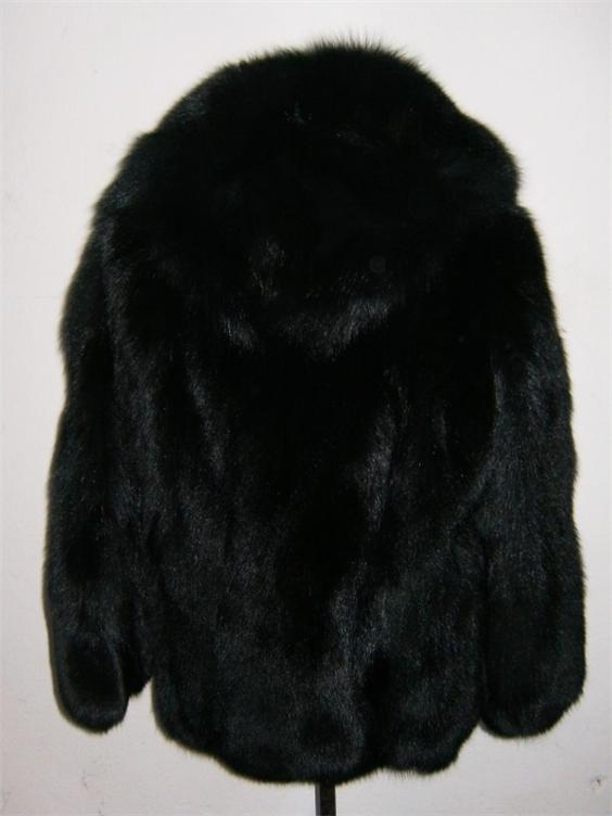 black fox fur coat hooded front view