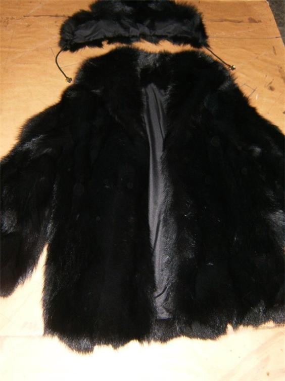 black fox fur coat hooded profile view