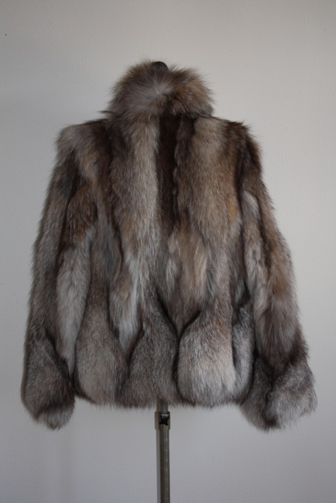crystal fox fur jacket with crystal fox collar close view