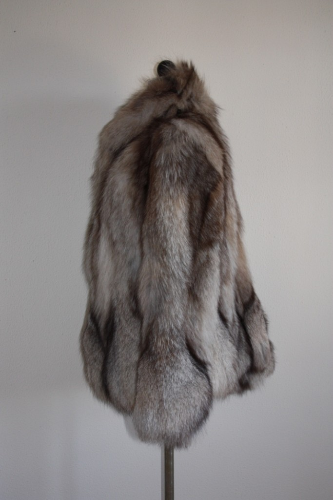crystal fox fur jacket rear and lateral view