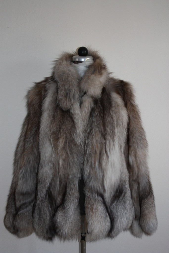 crystal fox fur jacket front and profile view