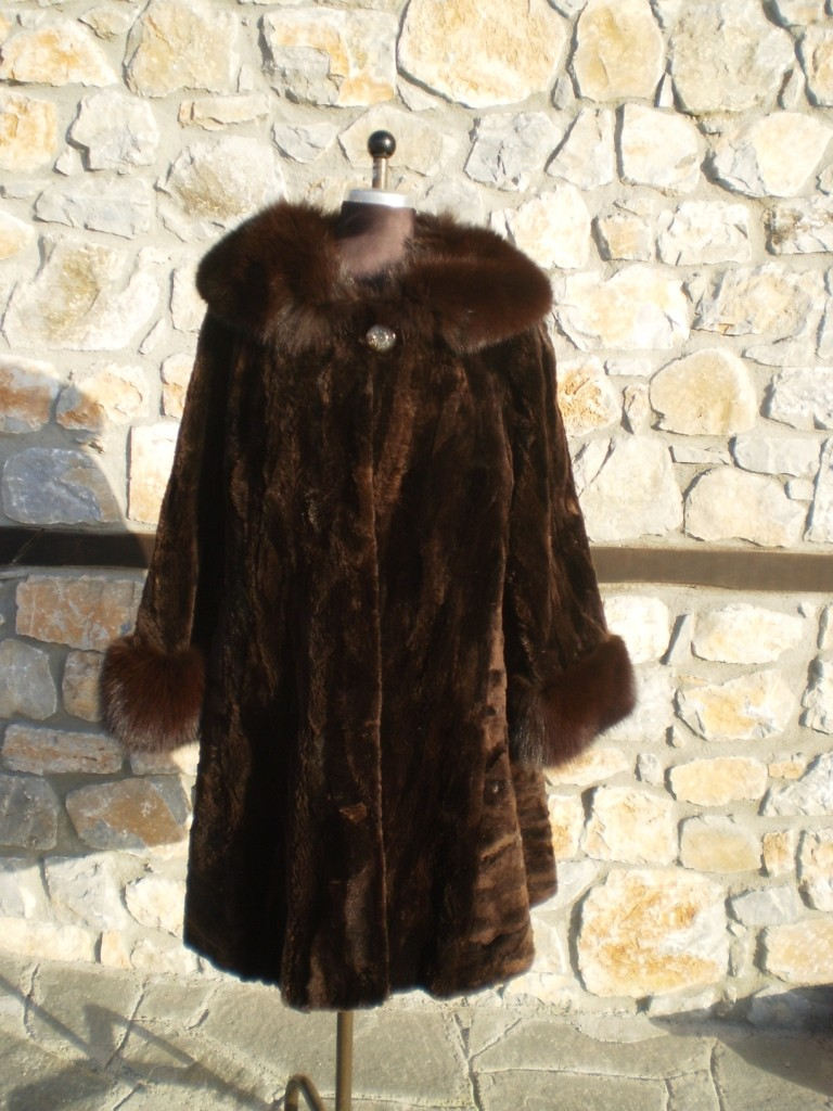 brown beaver fur coat fox collars and cuffs front view