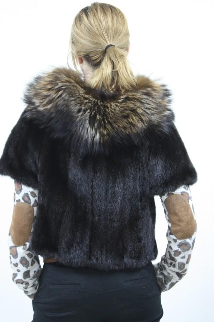 black mink fur vest raccoon collar rear view