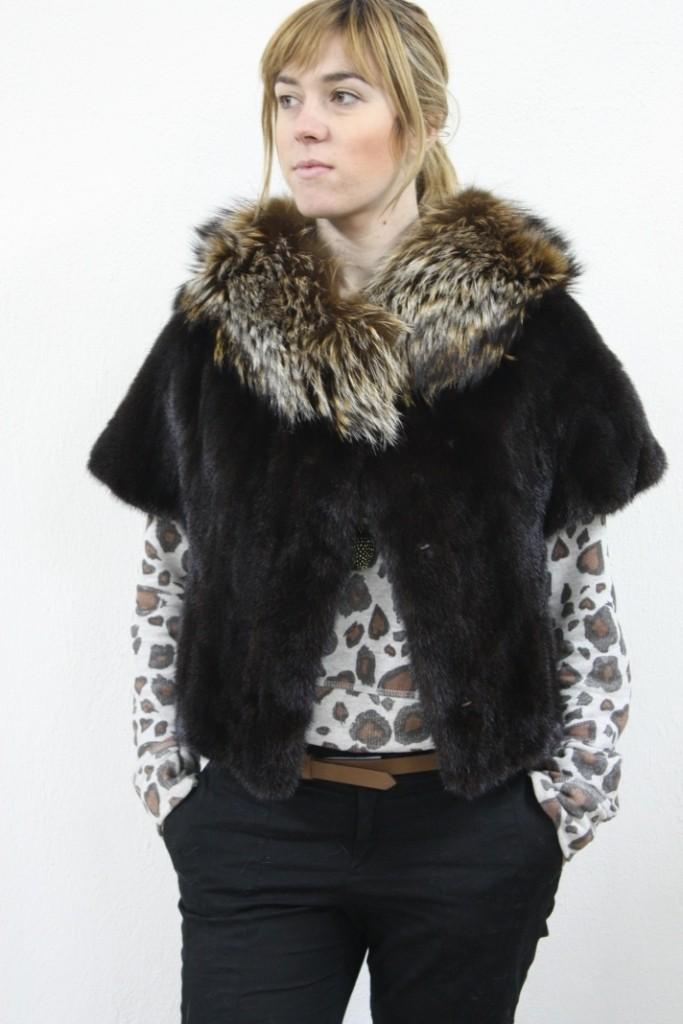black min fur vest raccoon fur collar front view