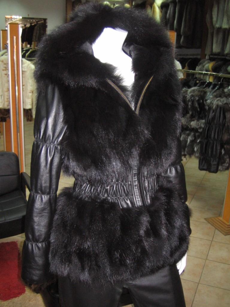 black fox fur jacket with hood , leather waist and sleeves front view