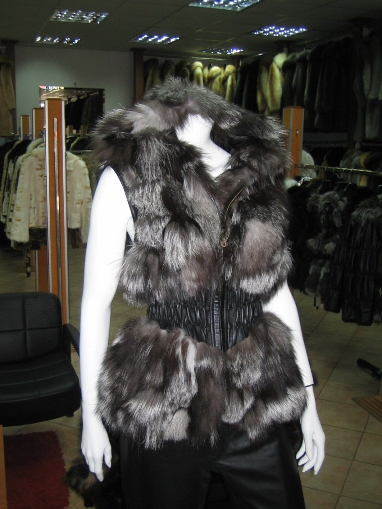 silver fox fur vest with leather waist and fur hood