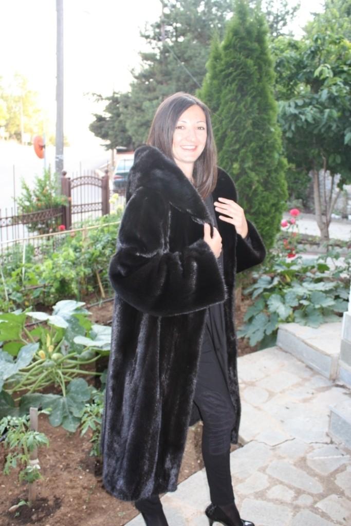 black mink fur hood
