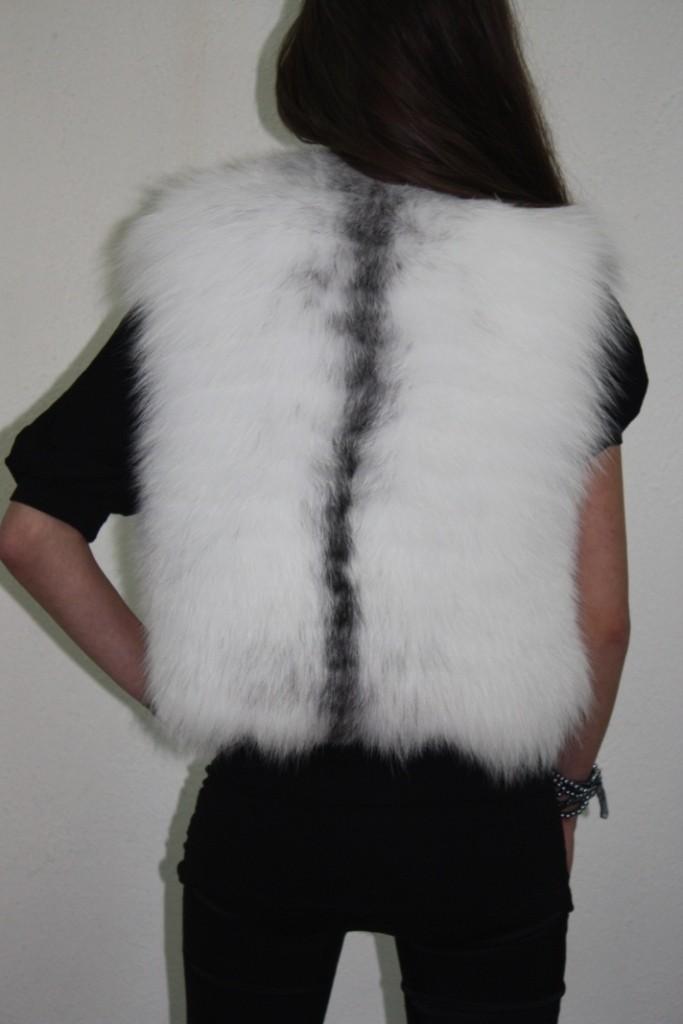 platinum fox fur vest rear view