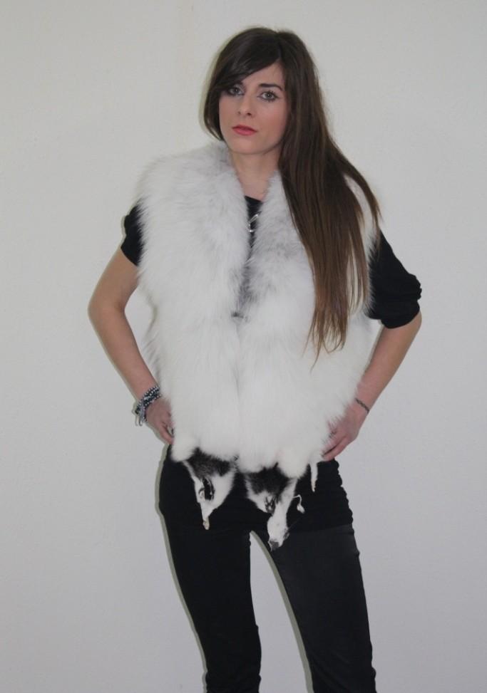 platinum fox fur vest front view