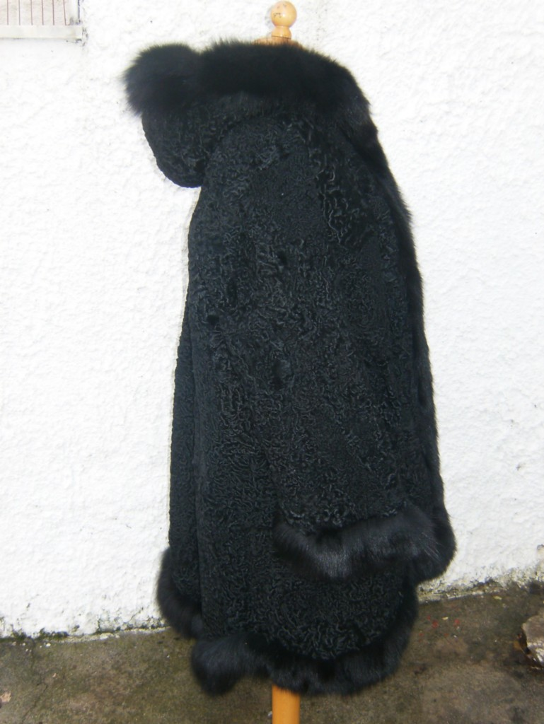 black persian lamb fur coat with hood and fox trim