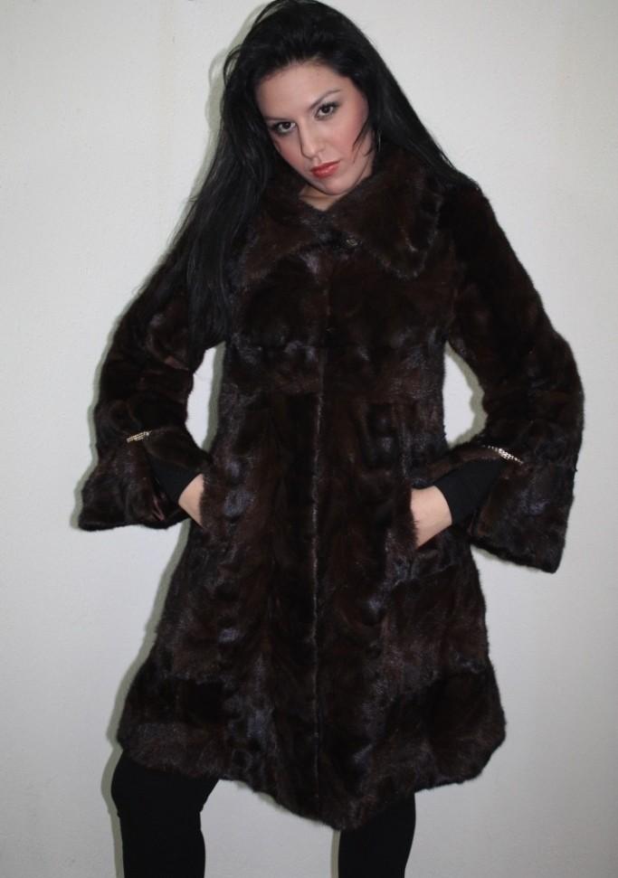 brown mink fur coat knee length