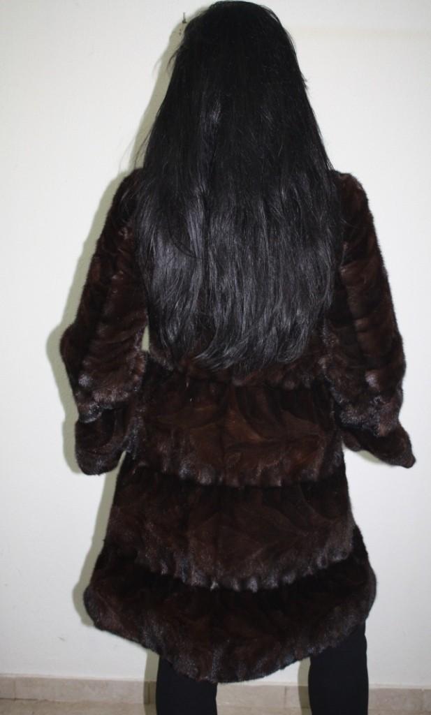 sheared brown mink fur rear view