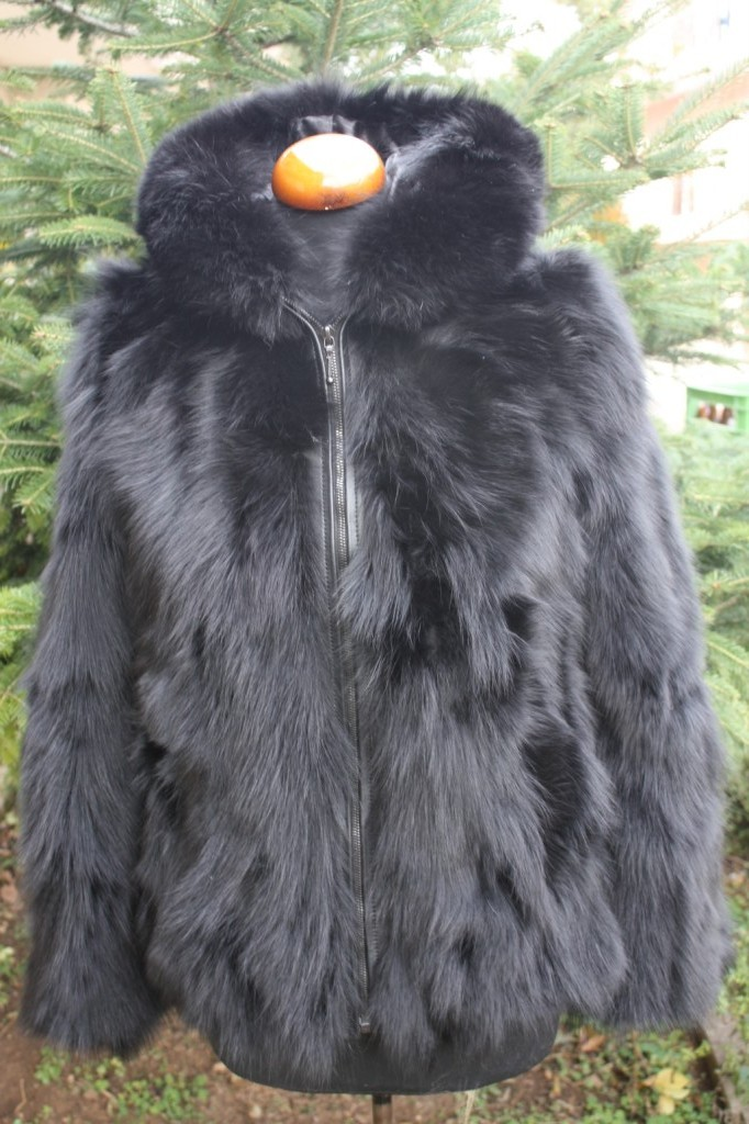 black fox fur jacket hooded