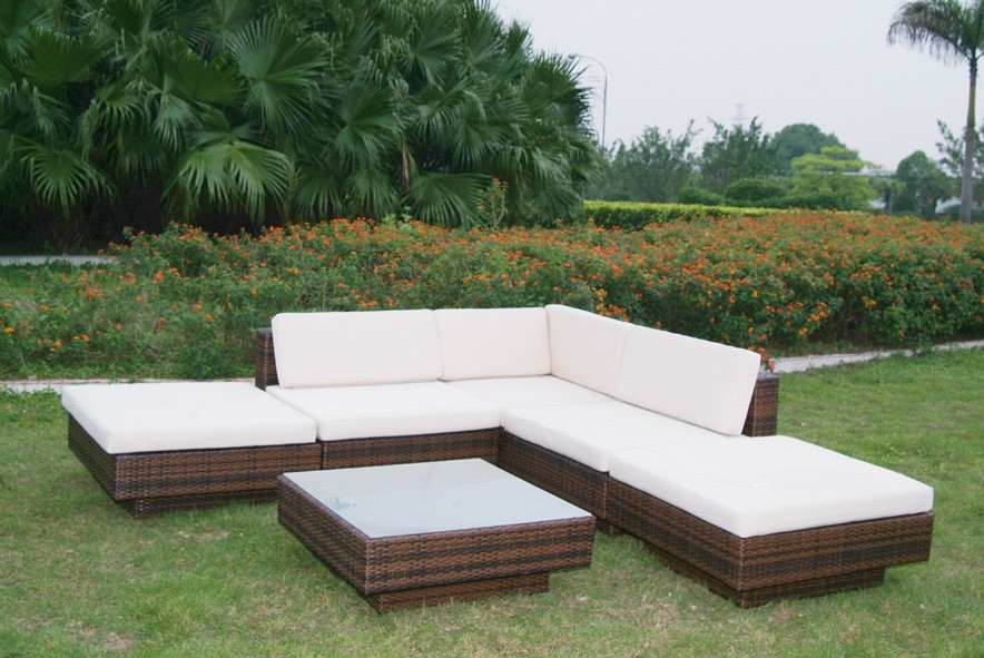 New Wicker Outdoor BBQ Pool Patio Furniture Sofa Setting 5 Piece Lounge Table