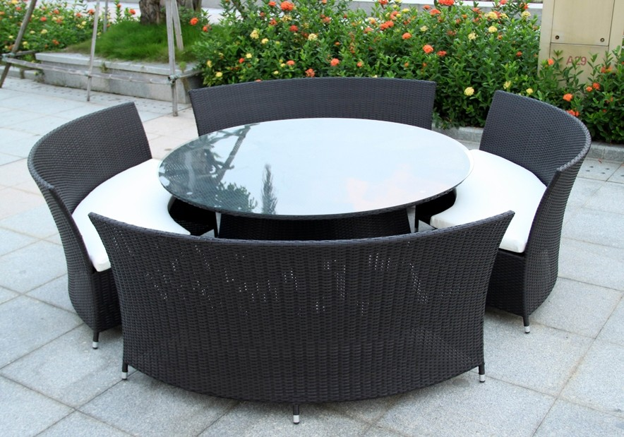 New wicker bbq indoor outdoor round dining setting table for 12 seat outdoor dining table