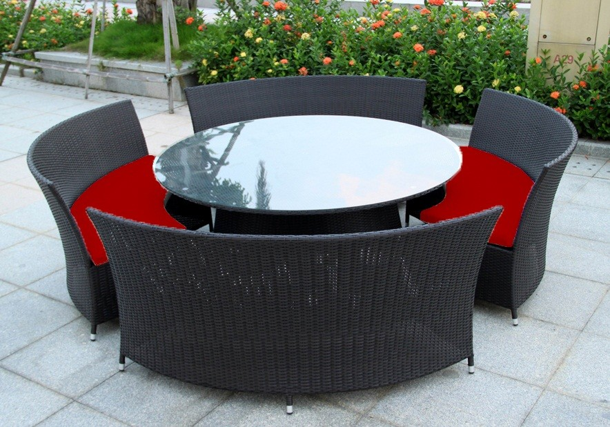 12 Circular Patio Furniture BBQ Indoor Outdoor Round Dining Setting Table 12 Seater Black Brown