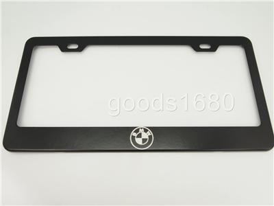 bmw logo black chrome stainless steel license plate frame holder fb. Cars Review. Best American Auto & Cars Review