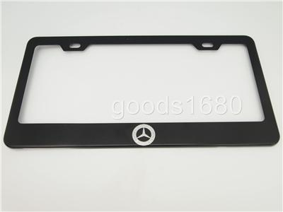 Mercedes benz logo black chrome stainless steel license for Mercedes benz license plate logo