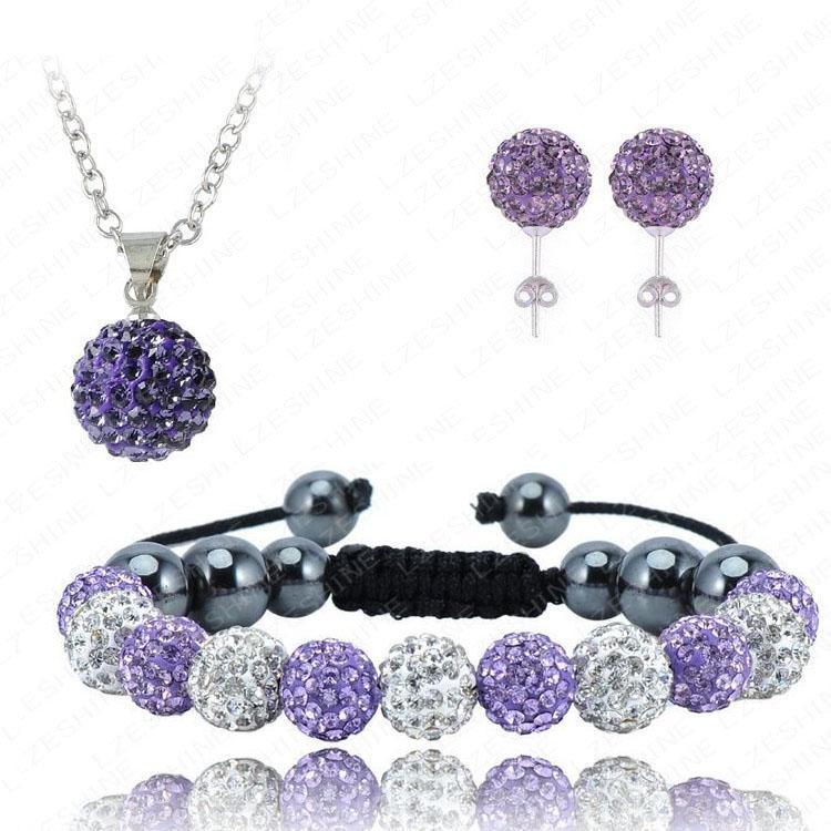 11*10MM Crystal Ball Shamballa Bracelet&Necklace&Earring Set Fashion Jewelry Hot