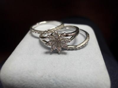Platinum Clad Silver QVC Diamonique 3 Piece Wedding Ring Set EBay
