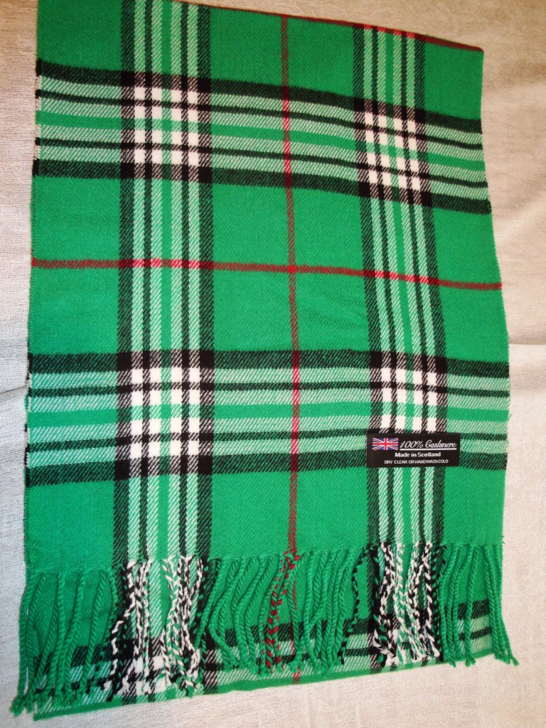 New 100% Cashmere Long 72X12 Winter Scarf Scotland Wool Wrap Navy Check Plaid