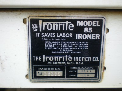 VINTAGE IronRite Model 85 Clothes Press Ironing Machine WORKS