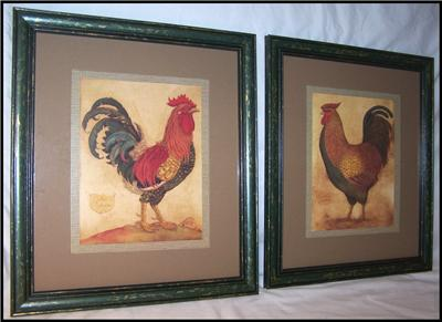 homco home interiors rooster amp hen framed prints 17 x 15