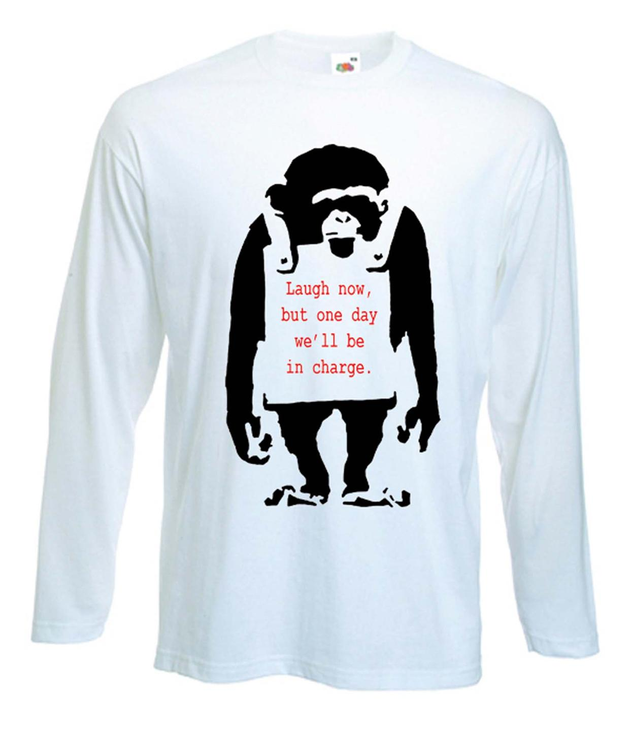 Banksy Laugh Now Monkey Long Sleeve T Shirt Choice Of