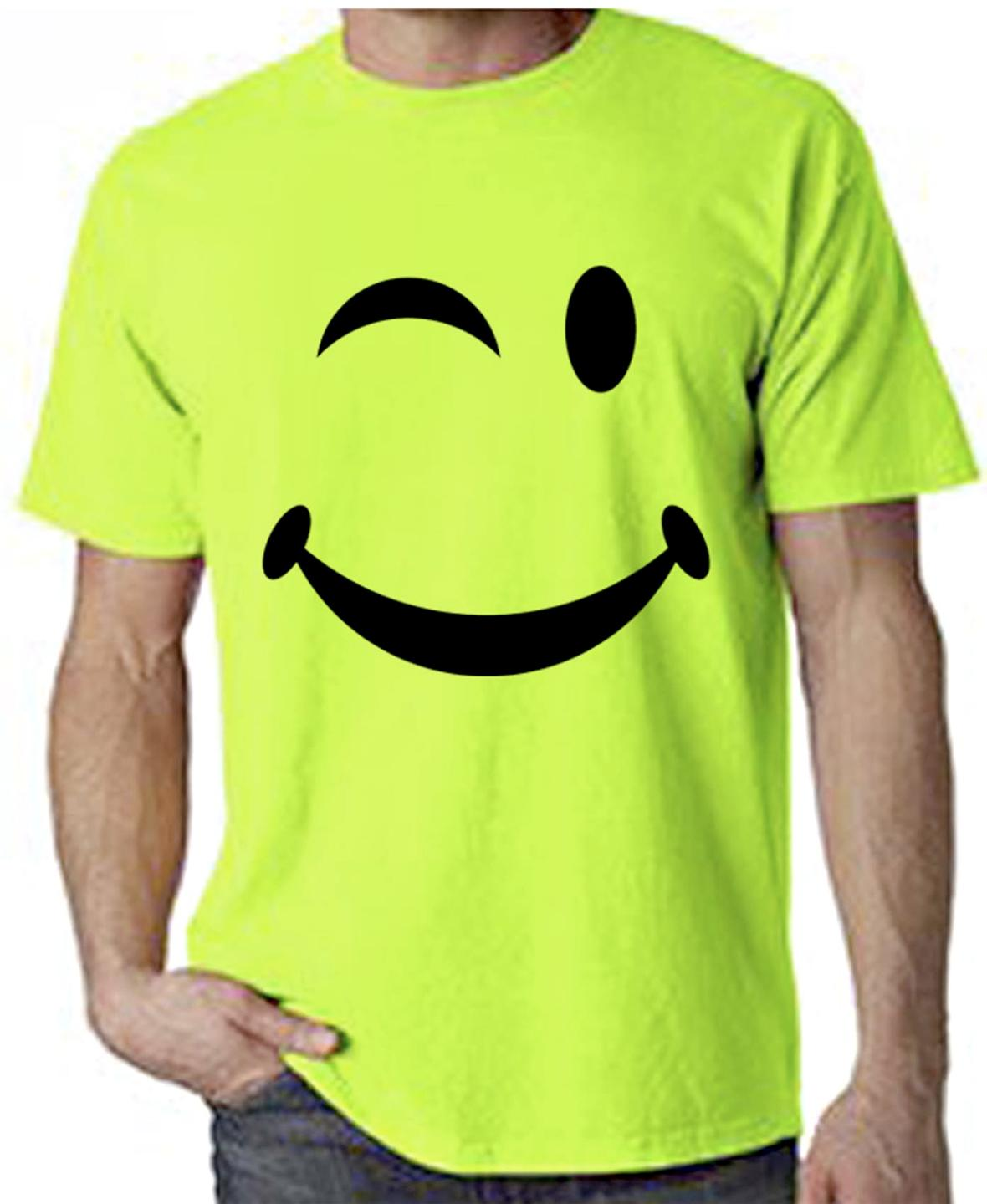 smiley face neon t shirt rave dub step drum n bass acid house ebay. Black Bedroom Furniture Sets. Home Design Ideas