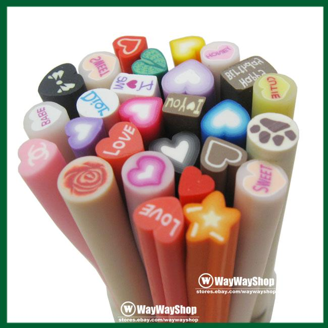 Lot 50 Nail Art Cane DIY Fimo Polymer Clay Slice Mix 4 Mp3 Phone Sticks Sticker