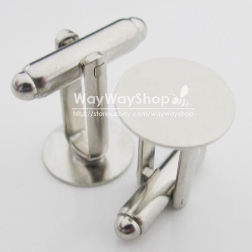 Silver-blank-Metal-Cufflinks-Cuff-links-Findings-15mm-5-8-Pad-10-50-100-pcs