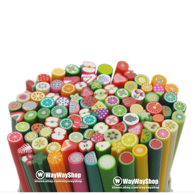 100 x Nail Art Cane DIY Fimo Polymer Clay Slice 4 Mp3 Phone Rods Sticks Sticker