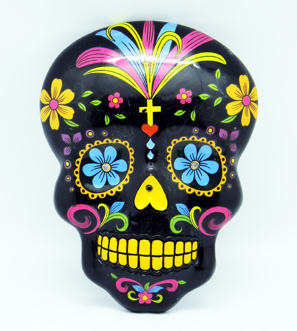 Black day of the dead wall hanging mask pagan wicca witch for Day of the dead skull mask template