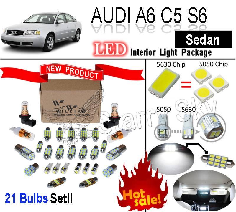 21 Bulbs Super White 5630 Led Interior Light Kit Package For Audi A6 C5 S6 Ebay