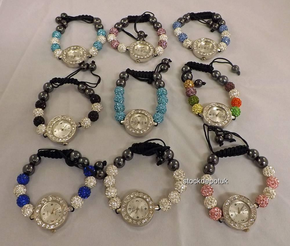NY-London-8-Ball-Ladies-Girls-Stringless-Shamballa-Style-Bracelet-Watch-Bling