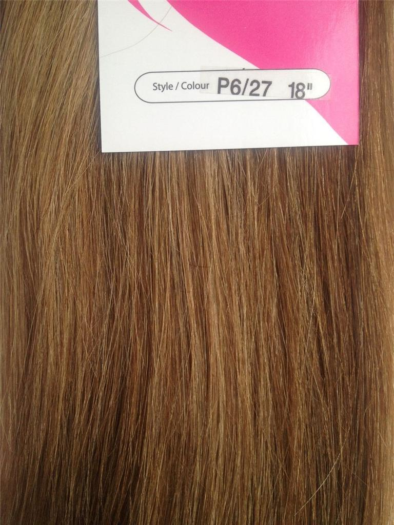 Clip In Human Hair Extensions 18 Streaks Highlights Brown Black Red
