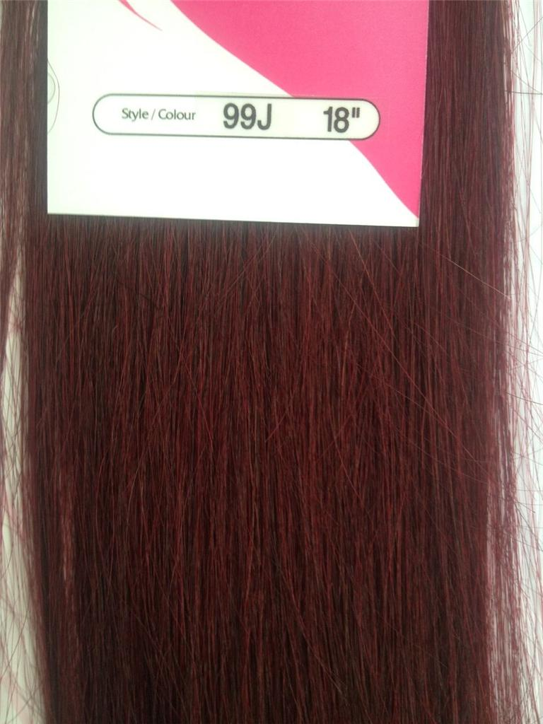 Clip In Human Hair Extensions 18 Streaks Highlights Brown Black Red